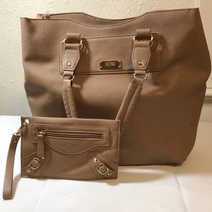 BCBG Paris two and one  tan tote